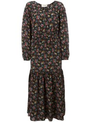 Saint Laurent Floral Print Gypsy Dress Black