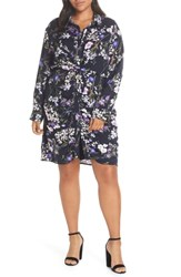 Everleigh Shirred Knot Front Shirtdress Navy Purple Floral