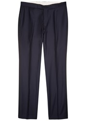 Oscar Jacobson Duke Wool Tuxedo Trousers Navy