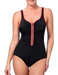 Reebok Cinched Contrast Border One Piece Black