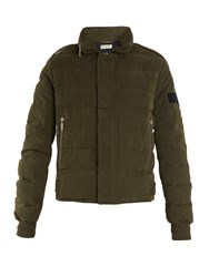 Saint Laurent High Neck Quilted Cotton Blend Jacket Khaki