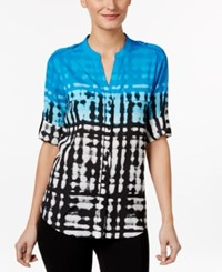 Calvin Klein Printed Roll Tab Blouse Black Adriatic