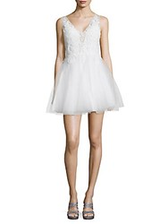 Basix Black Label V Neck Embroidered Fit And Flare Dress White