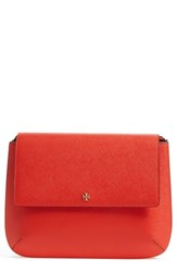 Tory Burch 'Robinson' Leather Messenger Crossbody Bag Red Poppy Red