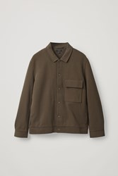 Cos Cotton Twill Shirt Jacket Brown