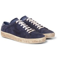 Saint Laurent Sl 06 Court Classic Leather Trimmed Suede Sneakers Navy