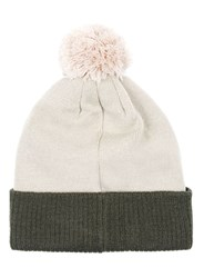 Topman Pink And Khaki Colour Block Bobble Beanie Hat