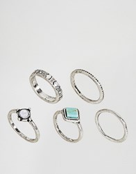 Asos Pack Of 5 Turquoise Etched Stone Rings Silver