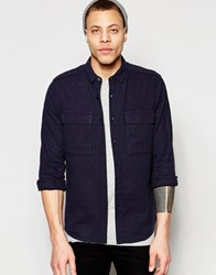 Asos Navy Military Shirt In Regular Fit Linen Mix With Long Sleeves Navy