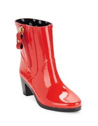Kate Spade Penny High Heel Rubber Ankle Rain Boots Red