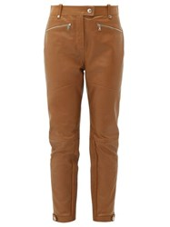 Burberry Petertown Panelled Leather Biker Trousers Brown