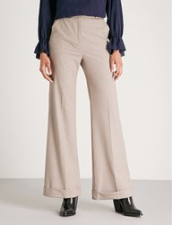 See By Chloe Checked Wide Leg High Rise Woven Trousers Multicolor White 1