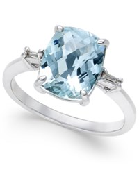 Macy's Aquamarine 2 1 2 Ct. T.W. And Diamond Accent Ring In Sterling Silver Blue