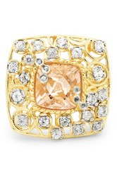 Olivia Leone 18K Yellow Gold Plating Sterling Silver Genuine Kunzite And White Topaz Ring Pink