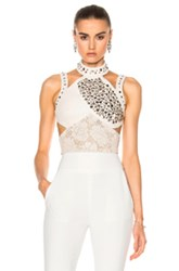 Rodarte Laser Cut Leather Top In White