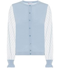 Red Valentino Wool And Silk Cardigan Blue