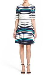 Women's Pleione Stripe Ottoman Rib Fit And Flare Dress Blue Green Stripe