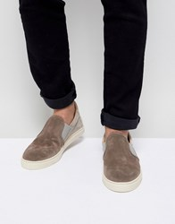 Selected Homme Premium Suede Slip On Trainers Grey