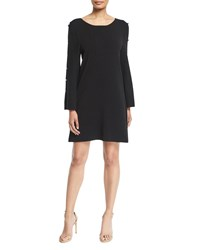 Milly Button Sleeve Shift Dress Black