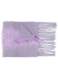 Charlotte Simone Frayed Edges Scarf Purple
