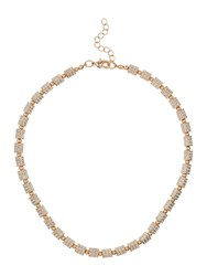 Mikey London Small Cylinder Crystal Bead Necklace Rose Gold