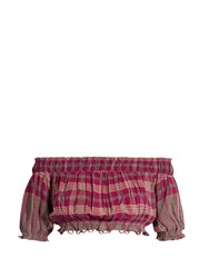 Apiece Apart Oeste Off The Shoulder Plaid Cropped Top Pink Multi