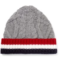 Thom Browne Striped Cable Knit Wool Beanie Gray