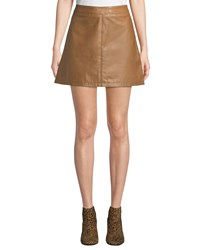 Cupcakes And Cashmere Marrie Leather Mini Skirt Camel