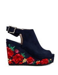 Kenneth Cole Olani Floral Printed Suede Wedge Sandals Marine