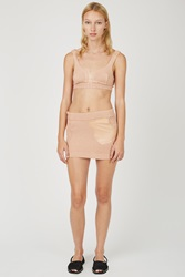 Helen Lawrence Ribbed Cotton Latex Pocket Mini Skirt Peach