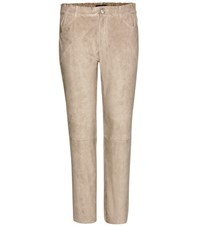 Stouls Clark Cropped Suede Trousers Beige