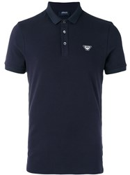 Armani Jeans Embroidered Logo Polo Shirt Blue