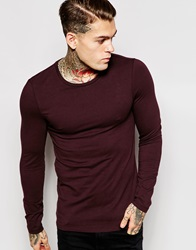 Asos Extreme Muscle Long Sleeve T Shirt With Crew Neck In Red Oxblood