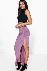 Boohoo Rouched Side Jersey Maxi Skirt Mauve