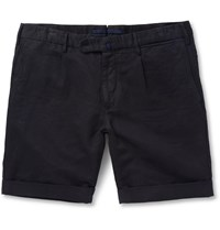 Incotex Slim Fit Linen And Cotton Blend Shorts Blue