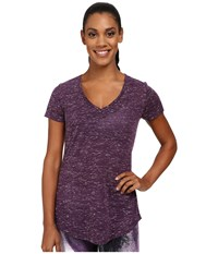 Alo Yoga Deep V Neck Shirt Purple Pennant Marble Women's Short Sleeve Pullover
