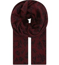 The Kooples Floral Skull Modal And Wool Blend Scarf Bla22