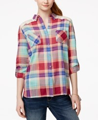 American Rag Plaid Crochet Trim Button Front Blouse Only At Macy's