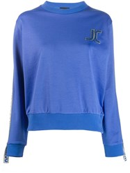 Just Cavalli Embroidered Logo Sweatshirt Blue