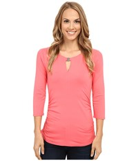 Vince Camuto 3 4 Sleeve Keyhole Top W Hardware Coral Sugar Women's T Shirt