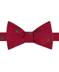 Tommy Hilfiger Men's Dot Tree Print To Tie Bow Tie Red