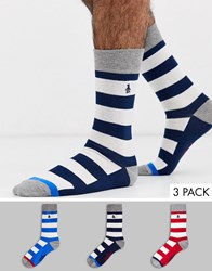 Penguin Rugy Striped 3 Pack Socks In Grey Blue And Red Multi