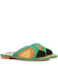 Carrie Forbes Raffia Sandals Green