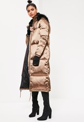 Missguided Bronze Longline Satin Padded Coat