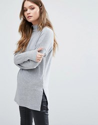 New Look Ribbed High Neck Tunic Grey Marl