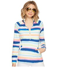 Lilly Pulitzer Upf 50 Skipper Printed Popover Multi Cats Meow Stripe Long Sleeve Pullover White