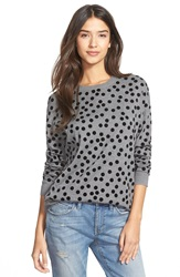 Hinge Polka Dot Relaxed Sweater Grey Dark Heather Tossed Dot