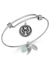 Unwritten Angel Charm And Amazonite 8Mm Bangle Bracelet In Stainless Steel
