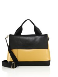 Marni Bicolor Leather Flap Satchel Black Yellow
