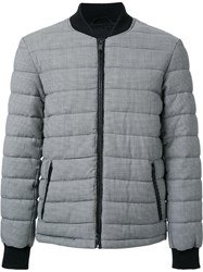 Kent And Curwen Houndstooth Padded Bomber Jacket Grey